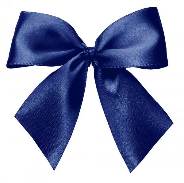 Fertigschleifen aus doppelseitigem Satinband, marineblau mit 2 Flügeln: 25 Stück in Klarsicht-Box. Maße: von Flügel zu Flügel: ca. 10 cm