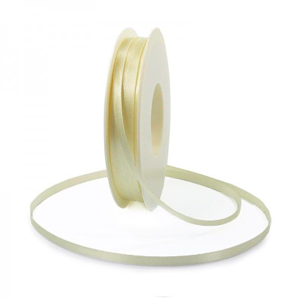Satinband SINFINITY, vanille-creme: 6mm breit / 50m-Rolle, mit feiner Webkante.