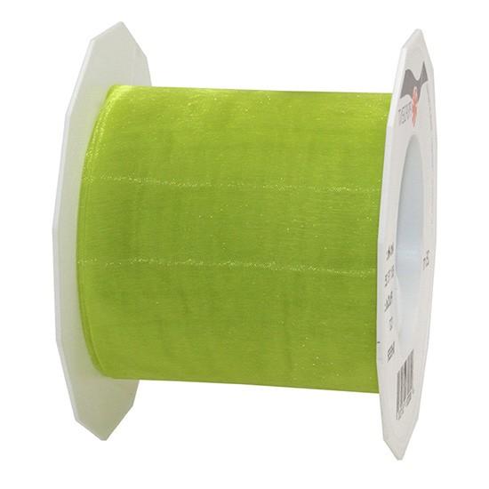 Organzaband-Sheer: 72mm breit / 25m-Rolle, lindgrün.