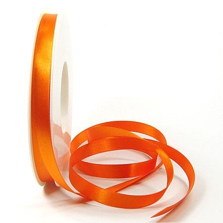 Satinband SINFINITY, orange: 10mm breit / 25m-Rolle, mit feiner Webkante.