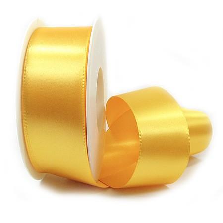 Satinband SINFINITY, hellgelb: 38mm breit / 25m-Rolle, mit feiner Webkante.