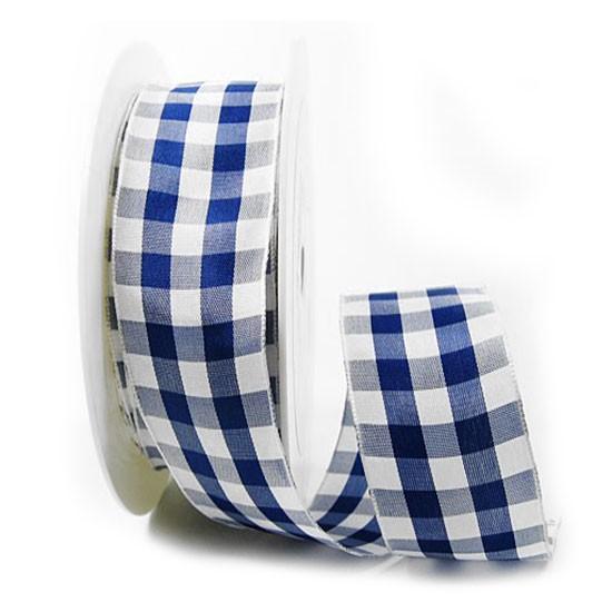 Karoband, blau-weiß: 38mm breit / 25m-Rolle