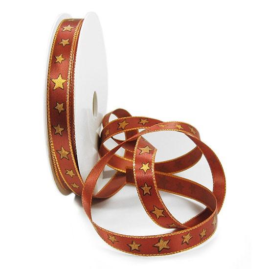 Sternchen-Weihnachtsband: 15mm breit / 50m-Rolle, kupfer-gold