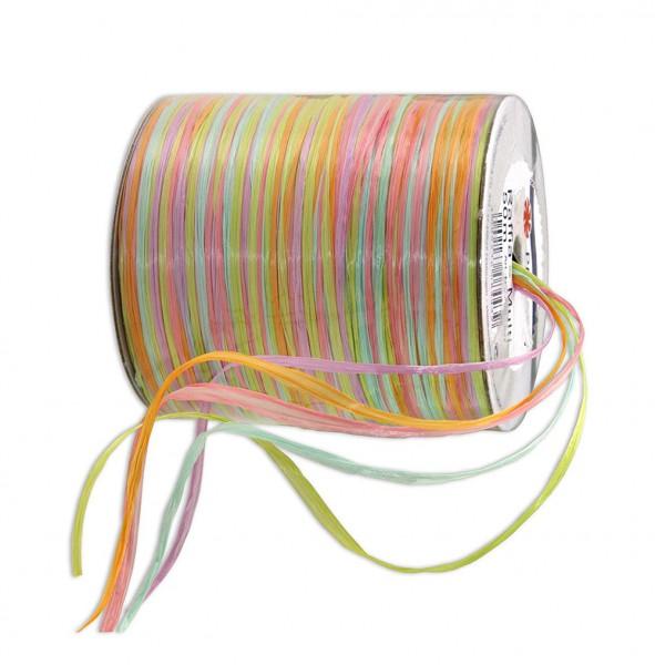 Raffia-MULTI-Bindebast: 10mm breit / 50m-Rolle, gelb-grün-orange.