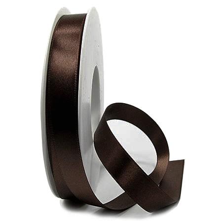 Satinband SINFINITY, dunkelbraun: 15mm breit / 25m-Rolle, mit feiner Webkante.