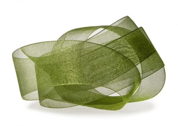 Organzaband-CHIFFON, moosgrün: 40mm breit / 50m-Rolle, mit feiner Webkante.