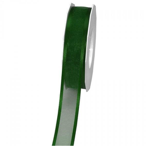 Florband, dunkelgrün: 25mm breit / 25m-Rolle, mit Drahtkante.