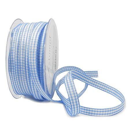 Landhauskaro, hellblau-weiss: 10mm breit / 25m-Rolle