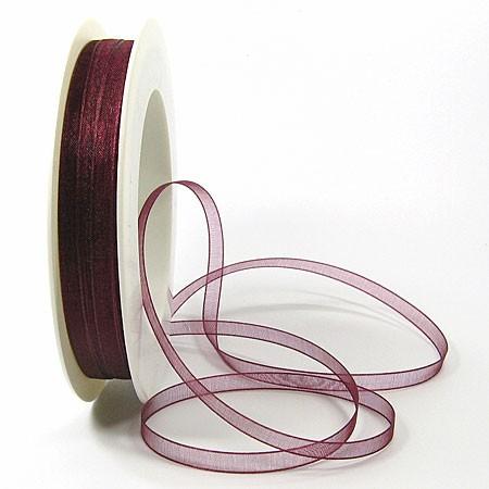 Organzaband: 5mm breit / 50m-Rolle, bordeaux