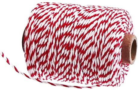 Bäckergarn, rot-weiß: 2mm breit / 50m-Rolle.