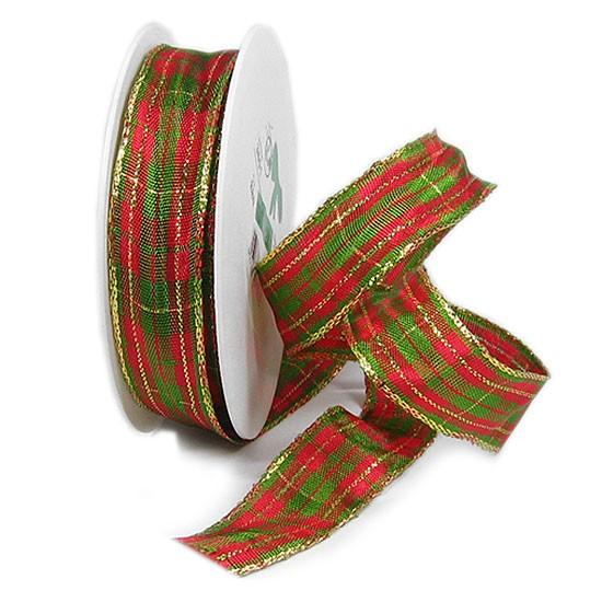 Weihnachts-KARO, mit Drahtkante: 25mm breit / 25m-Rolle, rot-grün-gold