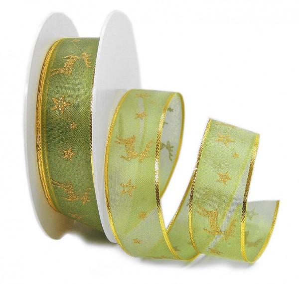 RENTIER-Organzaband, 25mm breit / 25m-Rolle, grün-gold