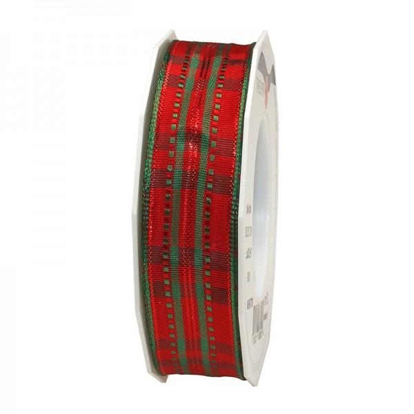 Weihnachtsband - NOTTINGHAM: 25mm breit / 20m-Rolle, rot-grün