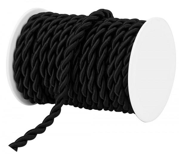 Kordel, schwarz - einfarbig gedreht: 8 mm Ø breit / 10-Meter-Rolle