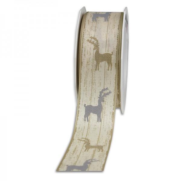 Dekorband-HIRSCHE: 40mm breit / 20m-Rolle, mit Webkante, creme-gold-silber-grau