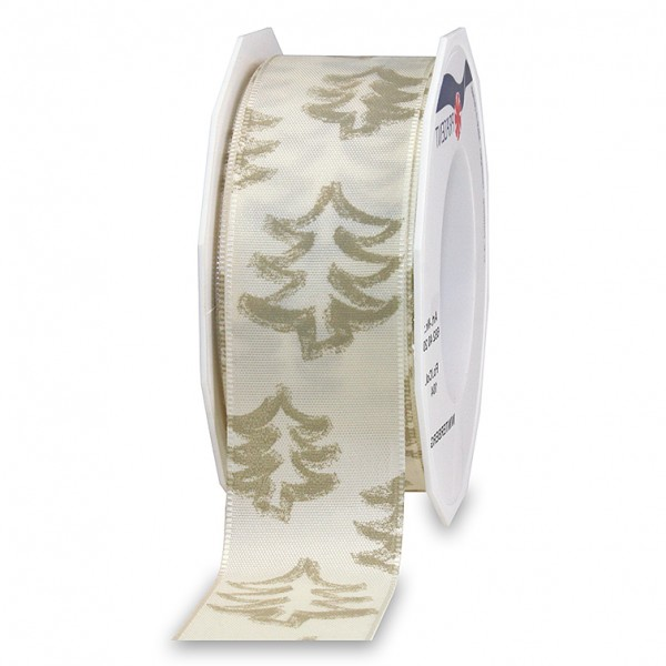 Weihnachtsband-WINTERBERG: 40mm breit / 20m-Rolle, mit Webkante, creme-gold