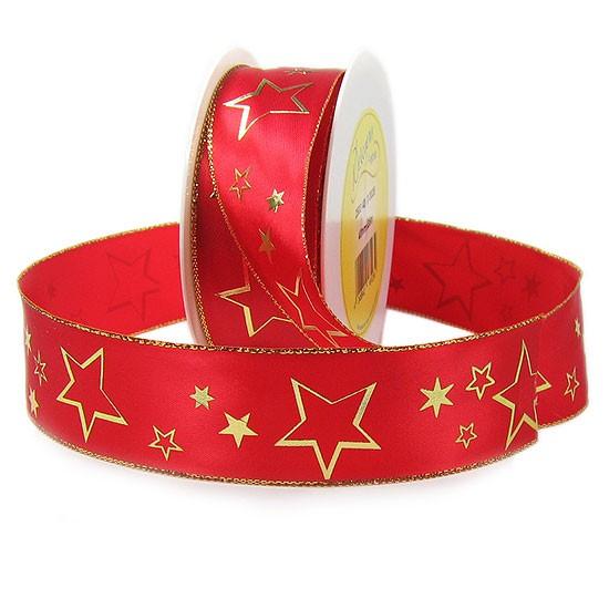 Weihnachtsband-CIELO, rot-gold: 40mm breit / 25m-Rolle, mit Drahtkante