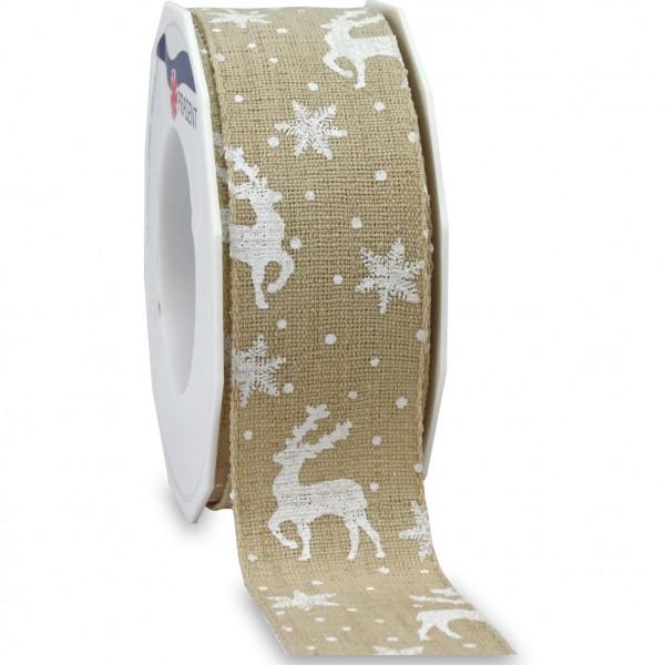 Weihnachtsleinenband-TRONDHEIM: 40mm breit / 15m-Rolle natur/weiss