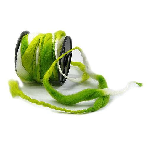 Filzkordel: Grün-Weiß - 12mm Ø breit / 10m-Rolle