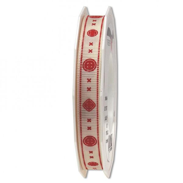 """Ripsband """"Knopf-Stitches"""", bedruckt: 15mm breit / 20m-Rolle"""