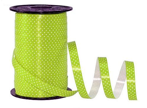 Poly-Pünktchen-Ringelband, lindgrün-weiß - 10mm breit / 200m-Rolle-weiß - 10mm breit / 200m-Rolle