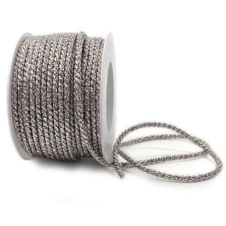 Lurex-Kordel: 4mm breit / 25m-Rolle, silber