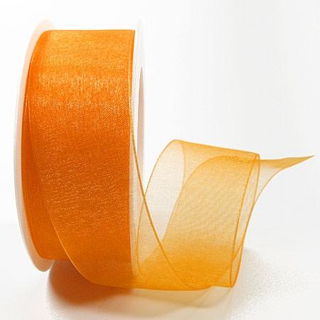Organzaband mit Drahtkante, 38mm breit / 25m-Rolle, orange