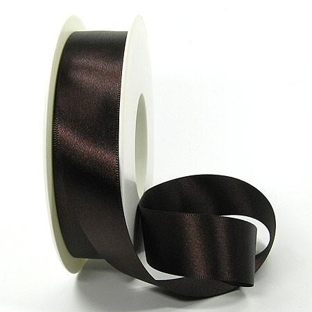 Satinband SINFINITY, dunkelbraun: 25mm breit / 25m-Rolle, mit feiner Webkante.