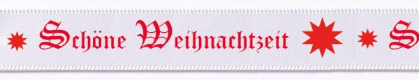 """Weihnachtsband """"Schöne Weihnachtszeit""""- Satin: 15mm breit / 25m Rolle - weiss"""