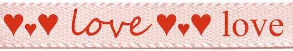 """Herzband """"love"""", hellrosa: 15mm breit - 25m-Rolle"""