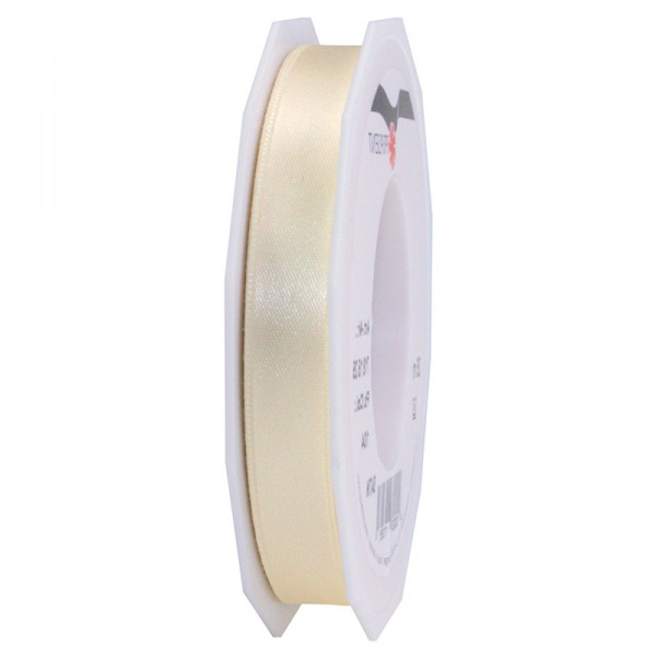 Satinband-PRÄSENT, creme: 15mm breit / 25m-Rolle, mit feiner Webkante.