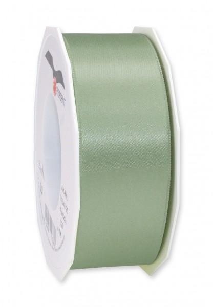 Satinband-PRÄSENT, schilfgrün 40mm breit / 25m-Rolle, mit feiner Webkante