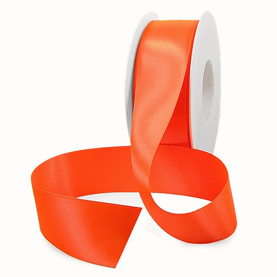 Satinband SINFINITY, neon-orange: 38mm breit / 25m-Rolle, mit feiner Webkante.