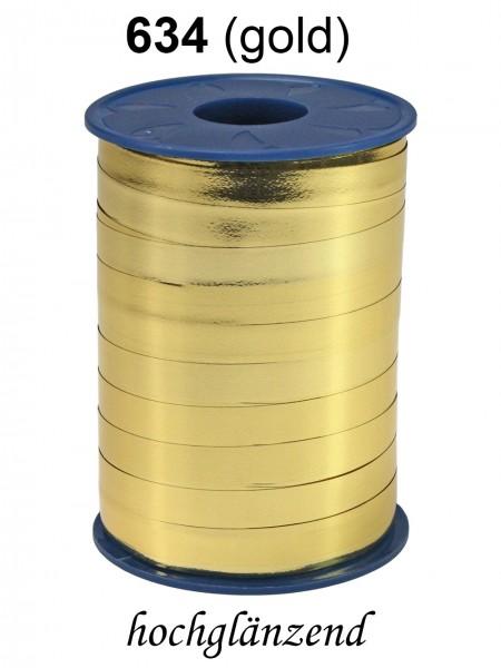 Polyringelband metallic: 10mm breit / 250m-Rolle, gold