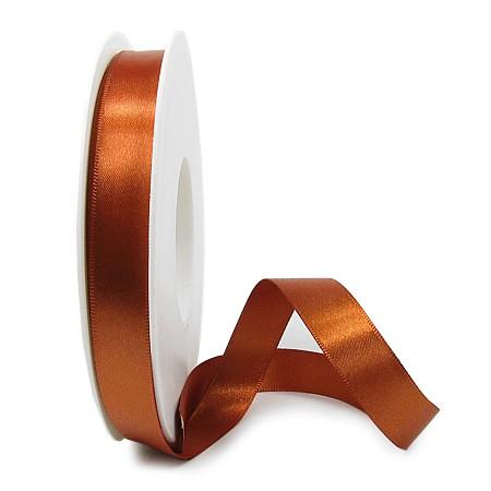 Satinband SINFINITY, mocca: 15mm breit / 25m-Rolle, mit feiner Webkante.