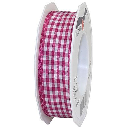 Vichy-Karoband, pink-weiss: 25mm breit / 20m-Rolle