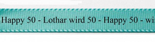 Ihr Text auf Satinband (schwarze Classic-Schrift): 15mm breit / 25m-Rolle