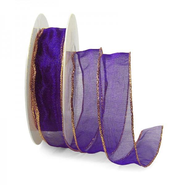 Organzaband mit LUREX-Drahtkante, 25mm breit / 25m-Rolle, violett-gold.