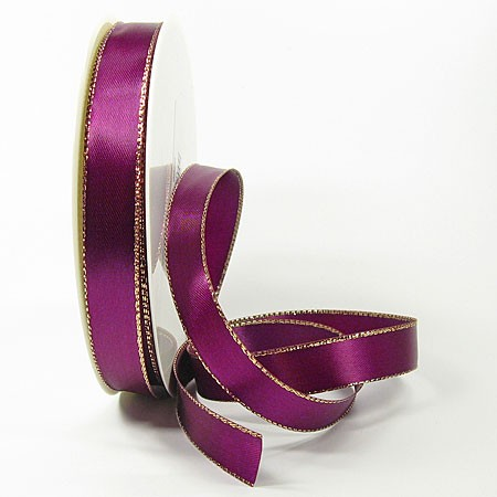 Satinband-VEGAS, mit Lurex-Goldkante: 15mm breit / 50m-Rolle, lila