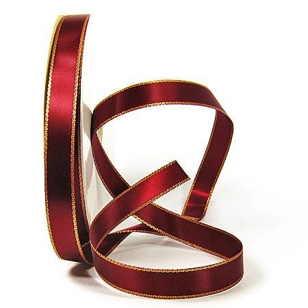 Satinband-VEGAS, mit Lurex-Goldkante: 15mm breit / 50m-Rolle,weinrot-gold