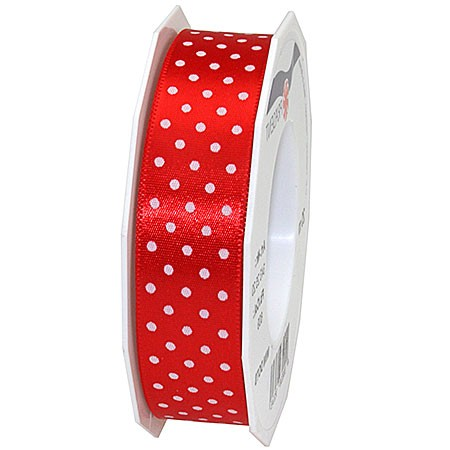 Pünktchenband, rot: 25mm breit / 20m-Rolle