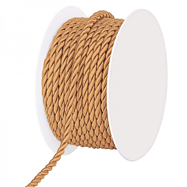 Kordel, gedreht - apricot: 4 mm Ø breit / 25-Meter-Rolle
