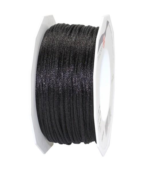 Satinkordel, schwarz: 3 mm breit - 50-Meter-Rolle