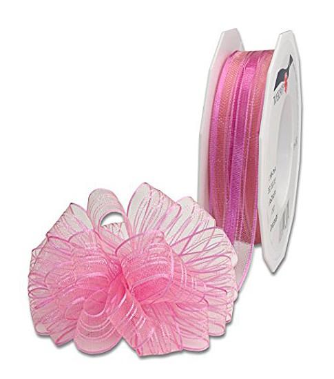 Ziehschleifenband VENEDIG: 25mm breit / 25m-Rolle, rosé.