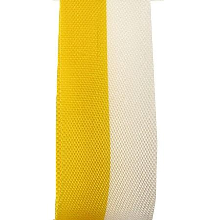 Vereinsband Schützenband, Gelb-Weiss, 75mm breit / 25m-Rolle