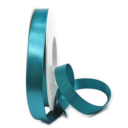 Satinband-SINFINITY, dunkeltürkis: 15 mm breit / 25 Meter, mit feiner Webkante.