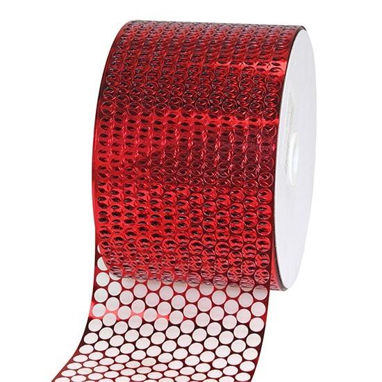 LOCHBAND-Chicago: 80mm breit / 45m-Rolle, rot-metalli