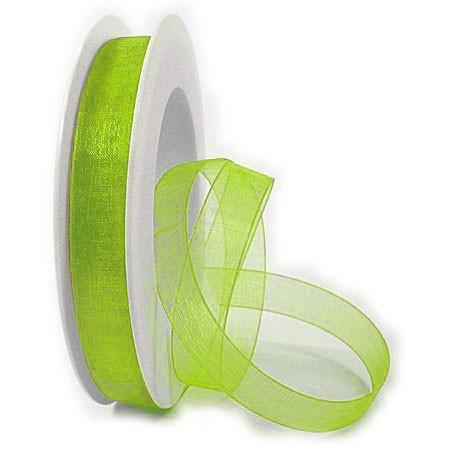 Organzaband mit echter Webkante: 15mm breit / 50m-Rolle, lindgrün.