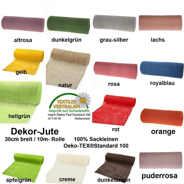 DEKOR-Jute 30cm breit - Farbauswahl