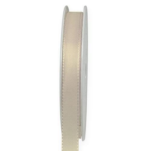 Taftband, creme: 10mm breit / 50-Rolle, mit feiner Webkante